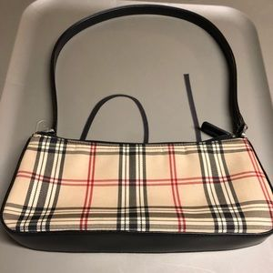 Cute little purse in tan, black and red plaid